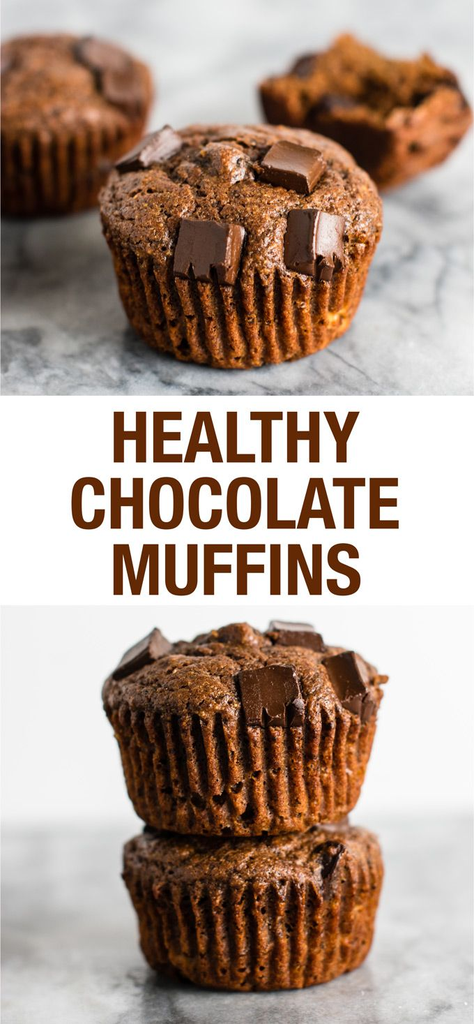 Healthy chocolate muffins with greek yogurt and coconut oil. Healthy enough to justify eating chocolate for breakfast! #breakfast #muffins #chocolate #greekyogurt #healthymuffins #healthychocolate #banana