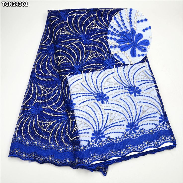 Royal blue high quality African net lace fabric Nigerian french tulle lace fabric hot sale 2017 new design for sewing TCN243