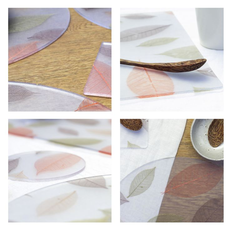 Lucentia Recycled Autumnal Leaf Placemats and Coasters - recycled flexible tableware with embedded fabrics. All recycled in house and handmade. http://lucentiadesign.bigcartel.com/product/autumnal-leaf-recycled-placemats-square-circle