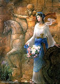 "Azadokht Shahbanu was the Queen of the Persian Sassanid Empire. Azadokht was not a military woman but she was very skilled with her sword.    The name ""Azadokht"" means: ""Free girl."""
