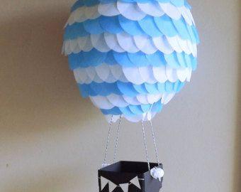 Azul claro y blanco a aire caliente globo linterna con pizarra Basket-10 pulgadas globo de aire caliente-fotografía accesorios bebé azul bebé ducha Decor