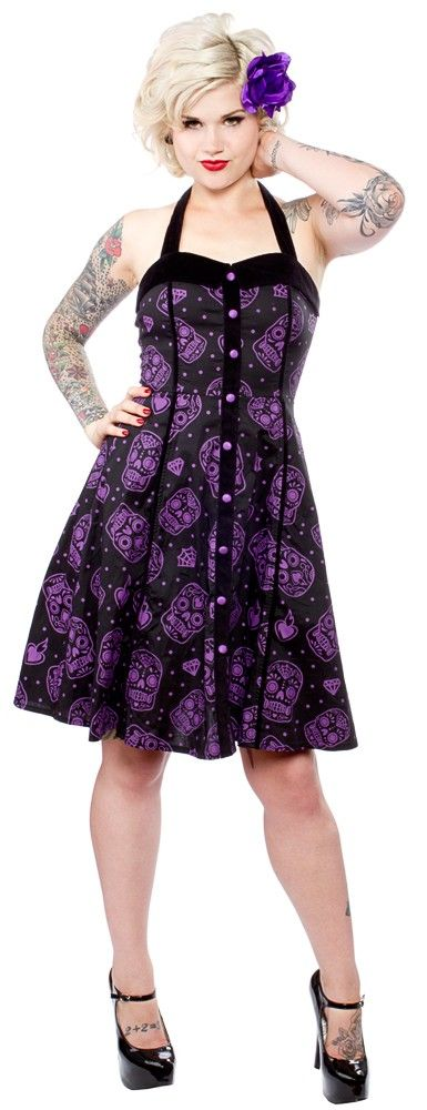 SOURPUSS SUGAR SKULL DRESS PURPLE