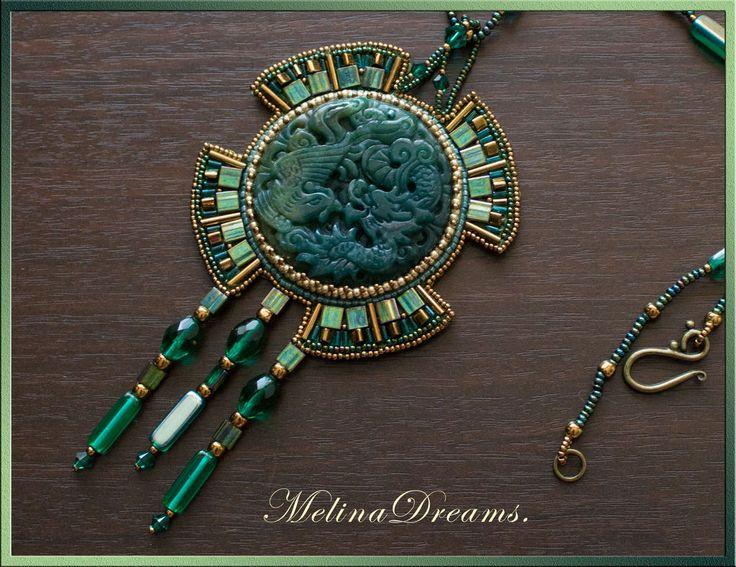 """Купить Кулон """"Дракон"""" - дракон, символ, украшения ручной работы, кулон, бисер, темно-зеленый"""