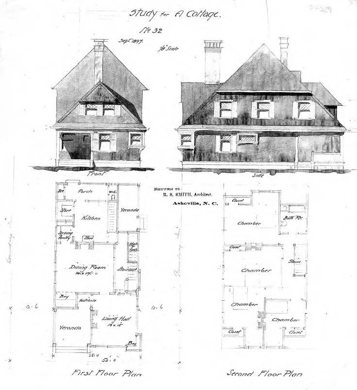 Study For A Cottage No 32 Front Side Elevations First