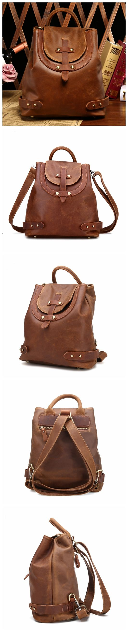 ROCKCOW Fashion Crazy Horse Leather Cowhide Genuine Leather Backpack Bag Woman Casual Style Brown Shopping Bag 3010