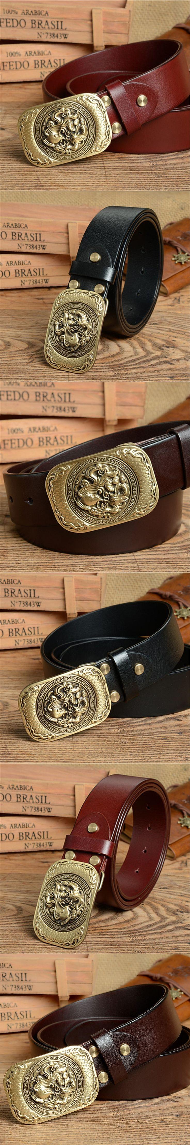 Chinese Style Brass Belt Buckle Mens Belts Luxury Genuine Leather Men Belt Ceinture Homme Cinturones  Male Strap Wide MBT0387