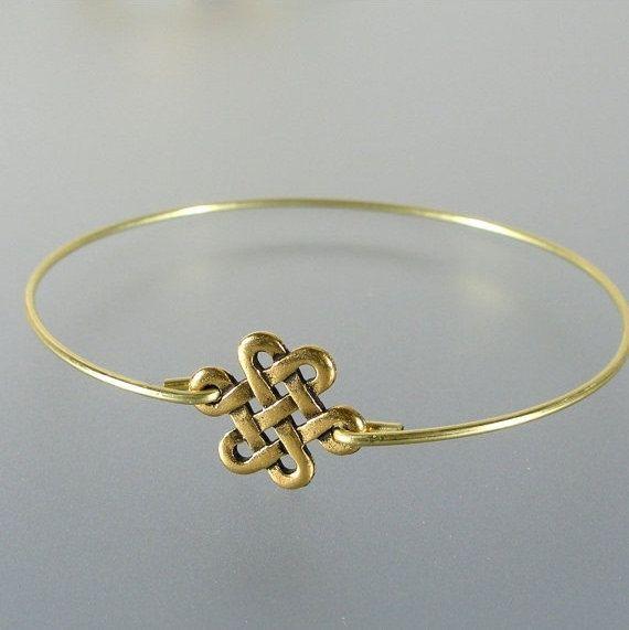 Gold Eternity Knot Bangle Bracelet Gold Bangle by LilyAndLouise, $14.95