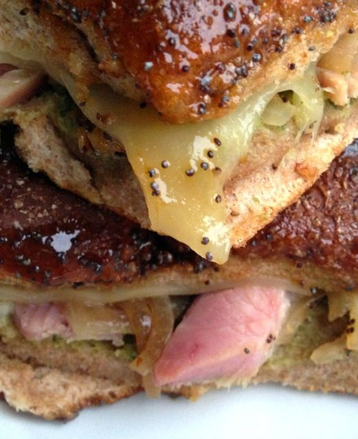 Recipe: Ham, Pesto, Onion & Cheese Poppyseed Sliders