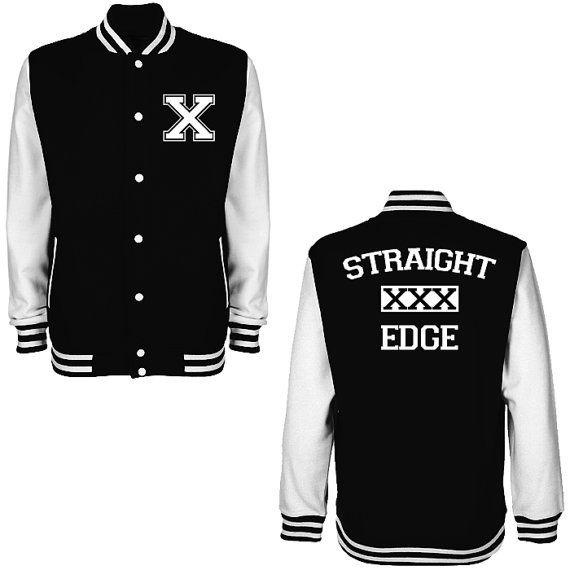 Straight Edge XXX Varsity Jacket - FREE Shipping - University College Letterman Baseball Jacket Hardcore Punk straightedge sXe Minor Threat