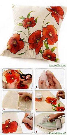 Декупаж на ткани.Подушка
