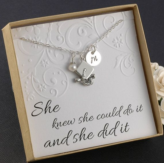 Graduation Necklace - Sterling Silver Initial Charm, graduation cap charm, pearl