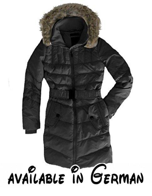 Daunenmantel Damen by Eight2Nine mit großer abnehmbarer Kapuze Stehkragek Steppmantel Daunen schwarz, M. STYLISCH - modisch und warm eingepackt gehts ab in die Kalte Jahreszeit.. PRAKTISCH - Dieser Damen Steppmantel mit Daunenfüllung hält sich immer warm. OHNE KOMPROMISSE - Wenn es mal ganz dick kommt, schützt die abnehmbare Kapuze mit Fake Fur Besatz zuverlässig. Diese Damen Wintermantel ist modisch körpernah geschnitten. Egal ob elegant oder sportlich. Mit dem Daunensteppmantel