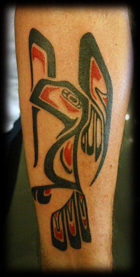 aztec inca style black with color bird forearm tattoo design aztec tattoos pinterest. Black Bedroom Furniture Sets. Home Design Ideas