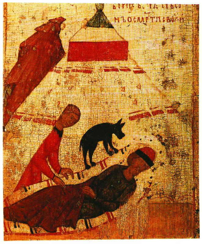 XIV в.  Борис и Глеб с житием.  Клеймо.  Борис видит сон смерти своей..