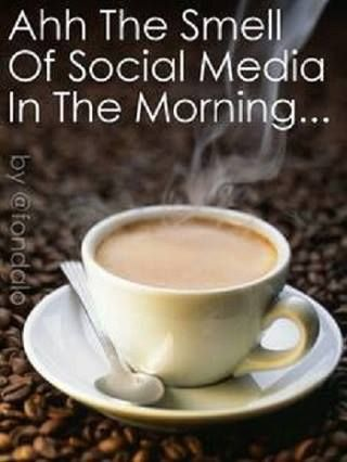 Social media in the morning with coffee..