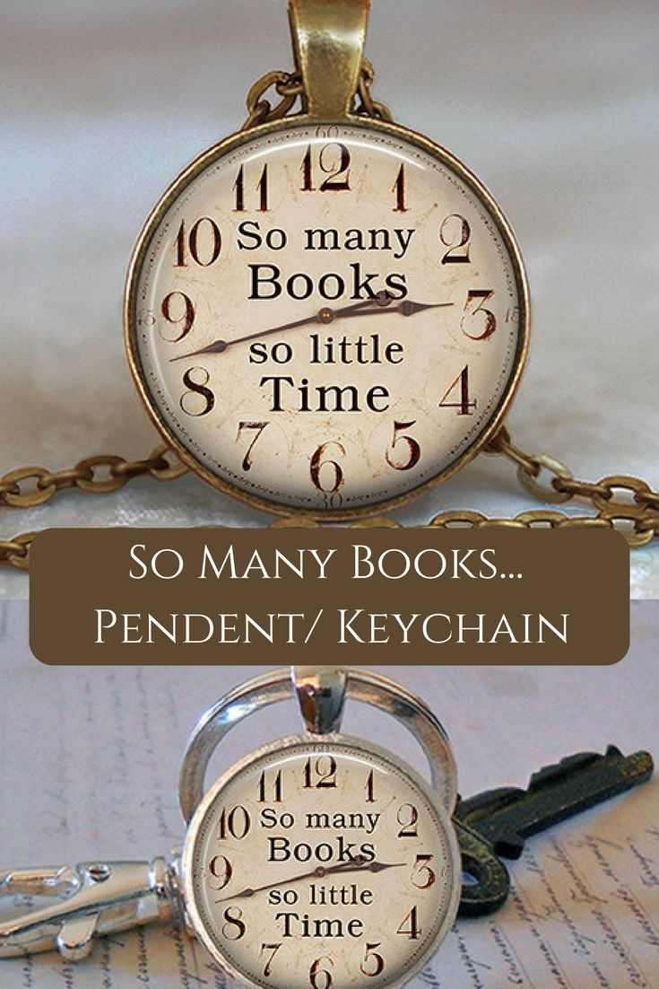So Many Books, So Little Time pendant, book necklace book jewelry book quote book club book gift for reader key chain key ring. This is such a good gift for your Book loving friend! #affiliate