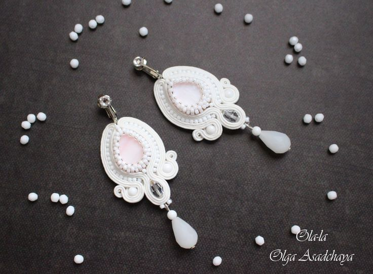 "clip ""White Lily"" soutache, mother of pearl, white agate, Swarovski crystals, crystal and glass beads, Japanese beads"