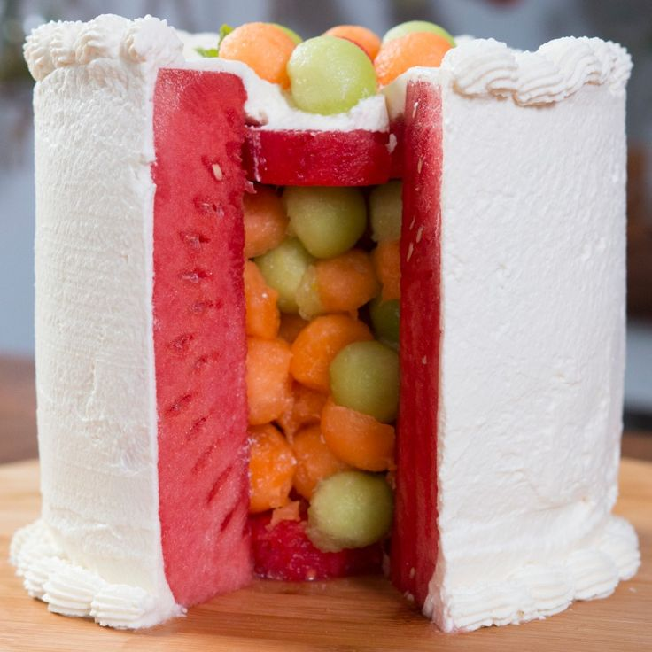 Recipe with video instructions: Slice open this refreshing triple melon cake surprise! Ingredients: 1 watermelon, 1 cantaloupe, 1 honeydew, ¾ cup white grape juice, Juice of one lemon, 2 sprigs of mint, 2 cups heavy whipping cream, ⅓ cup powder sugar, 1 tsp vanilla extract