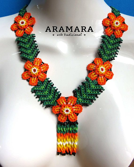 Dimensions Necklaces length is 12 inches (30.48 cms) The diameter of each flower is 1.5 inches (3.81 cms) Earrings length is 4 inches (10.16 cms) The Huichol represent one of the few remaining indigenous cultures left in Mexico. They live in self-imposed isolation, having chosen long ago