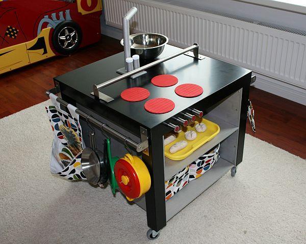 modern play kitchen using Ikea furniture