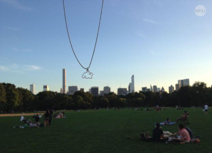 Our silver Cloud Necklace hangs over the Central Park New York