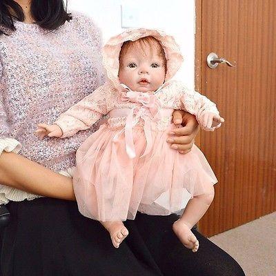 """20"""" feito à mão realista Boneca reborn de bebê menina recém-nascido realista Vinil Silicone Macio"""