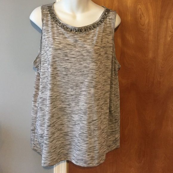 DealLoft Tank Color: Grey w/ beading.                                                                         90% polyester & 10% rayon.                                                                       Great condition.                                                                                                                                   3-quarter sleeves.                                           Perfect for spring/summer.                                         Ann Taylor…