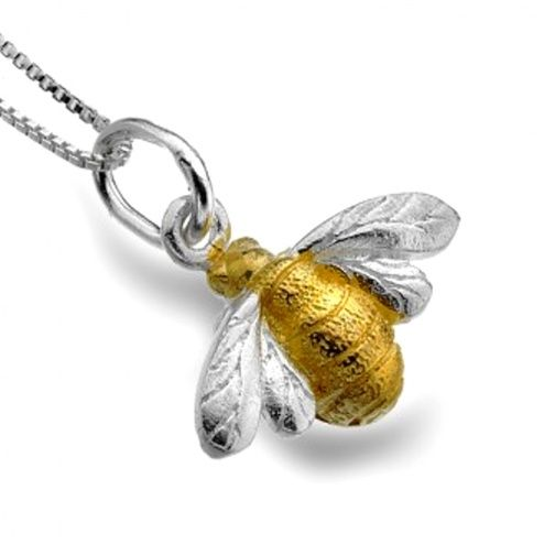 Sterling Silver Jewellery UK: Sterling Silver and Gold Bumblebee Pendant
