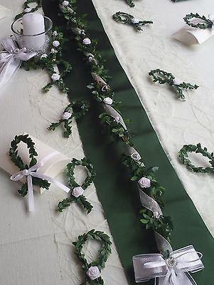 Tischdeko Set grün weiß Tischgirlande Fische Tischläufer Kerze Kommunion