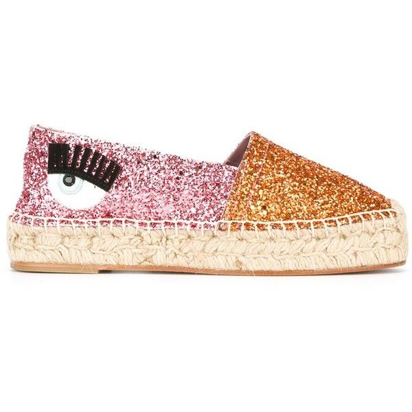 Chiara Ferragni Flirting Glitter Espadrilles ($257) ❤ liked on Polyvore featuring shoes, sandals, pink glitter shoes, pink shoes, real leather shoes, glitter sandals and orange shoes