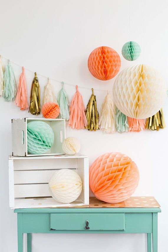 Ivory Party Decorations Mint Peach Ivory by thepartiesthatpop