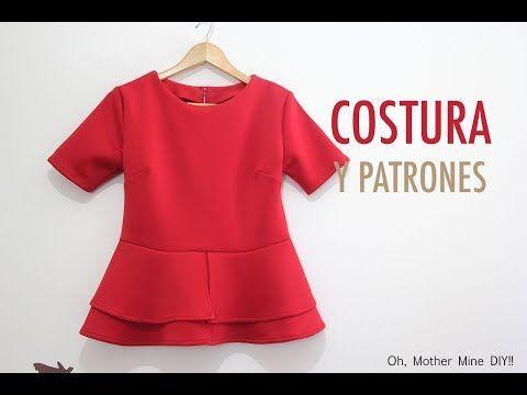 DIY Costura blusa peplum para mujer (patrones gratis) - YouTube