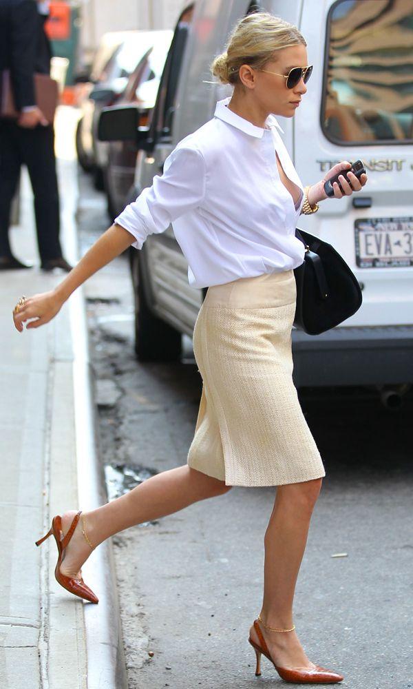 Ashley Olsen Workwear Inspiration Classic Neutrals White Button Down Skirt Slingbacks Low Bun Hair Aviator Sunglasses ...