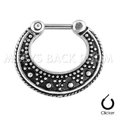 Dotted Two Tone Septum Clicker 16g 1.2mm Surgical Steel Nose Ring FREE SHIP