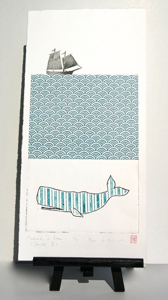 Whale & Sea  Original Etching and Collage by freshandsilly on Etsy, $50.00
