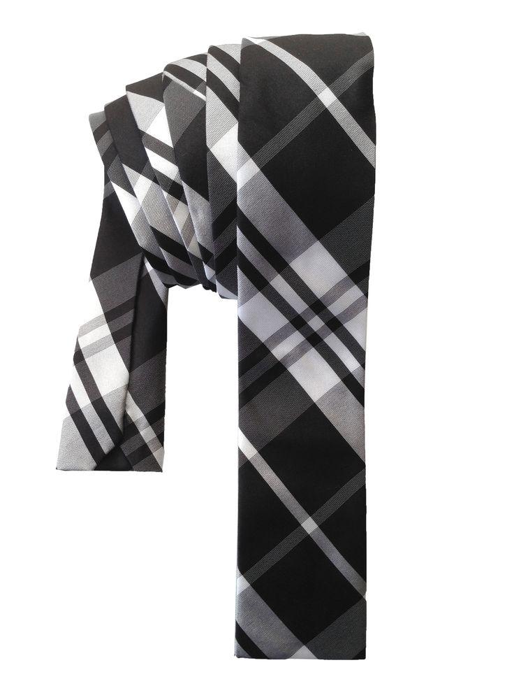 Black & White Plaid Square/flat tip skinny tie