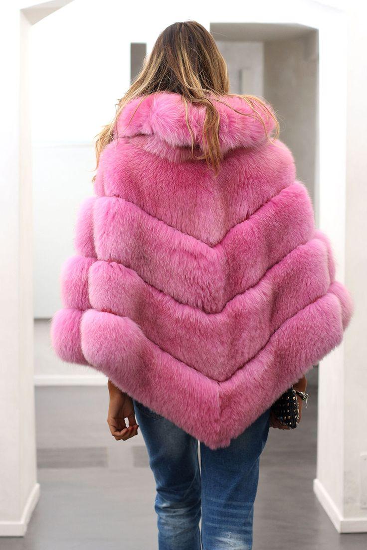 pink-dyed fox fur poncho
