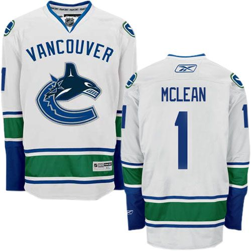 Authentic Kirk Mclean White Men's NHL Jersey: #1 Vancouver Canucks Reebok  Away