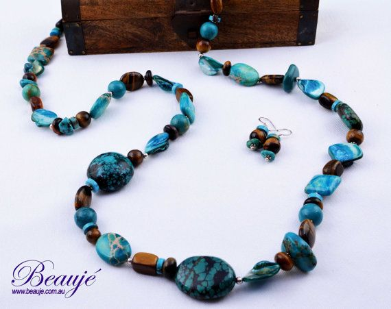 Teal necklace Long necklace Jewellery by BeaujeJewellery on Etsy