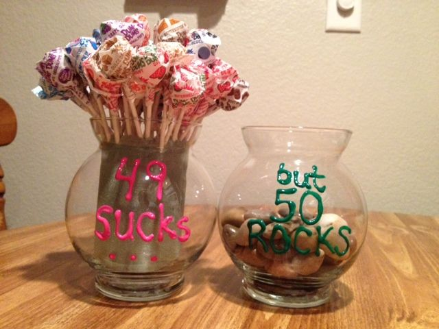 """I made the """"49 SUCKS, but 50 ROCKS"""" craft for my mom's 50th birthday. She thought it was hilarious, and it was extremely simple to make, as well as inexpensive! :)"""