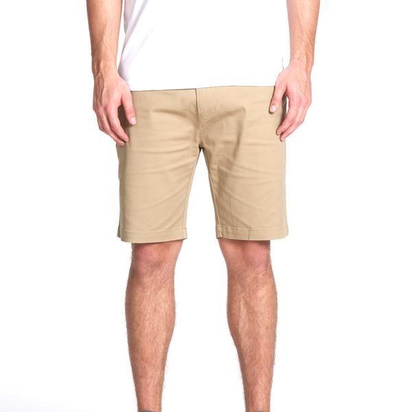 Jack Dusty Clothing, Men's Khaki Deck Short, Classic Nautical Men's Shorts, Model with a white tee and khaki shorts against a white backdrop.