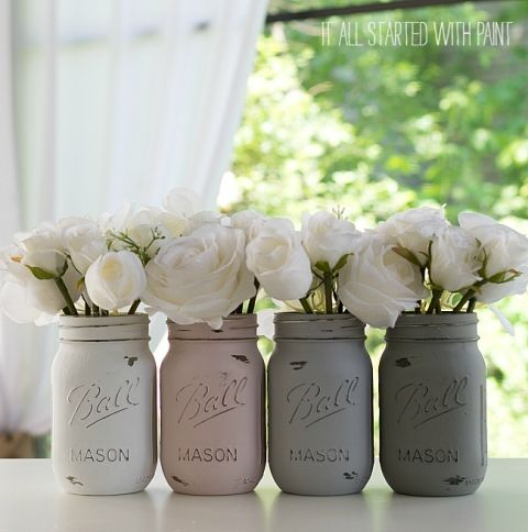 painted-distressed-mason-jars-pink-grey-chalk-paint (3 of 21) 2