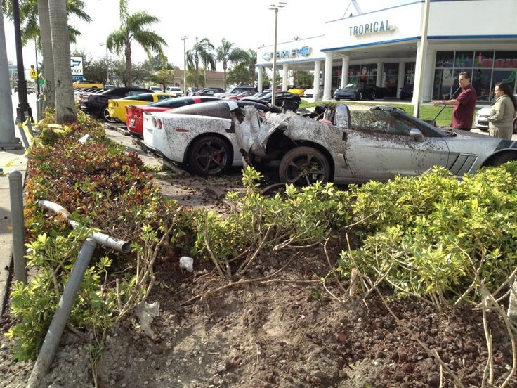 Drunk driver crashes into new Corvettes outside a Miami Chevy dealership.