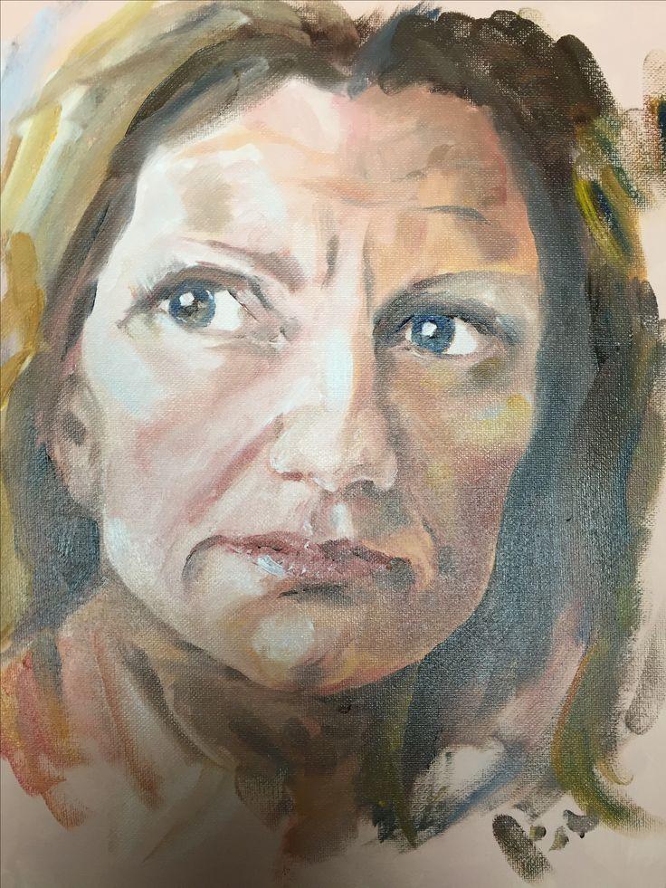 Portrait study.  Oil painting.  Art.