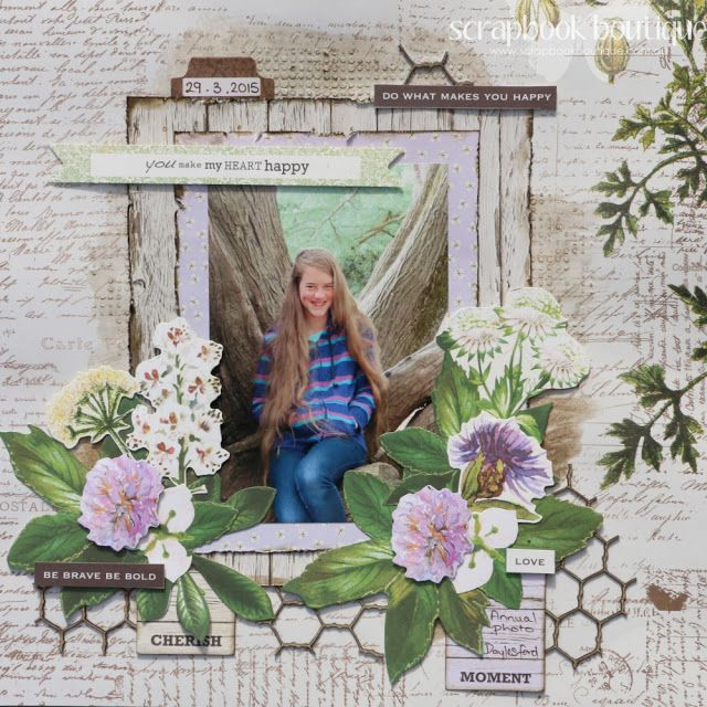 Created by Judith Armstrong for Scrapbook Boutique using Kaisercraft Botanica and Dusty Attic chipboard.