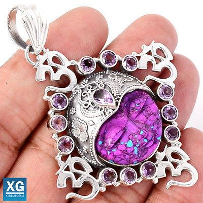 18g-Om-Face-Carved-Purple-Mohave-Turquoise-925-Pendant-Jewelry-SP206647