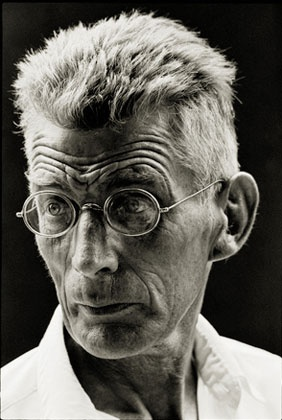 "Samuel Beckett by Steve Schapiro. New York, 1964. Photographed on the set of ""Film"" starring Buster Keaton. Silver Gelatin Print."