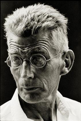 "Samuel Beckett by Steve Schapiro. New York, 1964. Photographed on the set of ""Film"" starring Buster Keaton. Silver Gelatin Print."