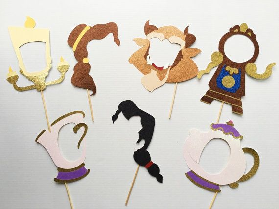 Beauty & the Beast Inspired Photo Booth Props | Belle | Beast | Gaston | Lumiere | Mrs. Potts | Cogsworth | Chip
