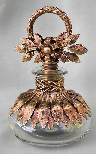 "Rare Vintage Rose Gold Ormolu Glass Perfume Bottle. I CAN PICTURE THIS IN A ""VINTAGE HOLLYWOOD REGENCY"" STYLE BEDROOM"